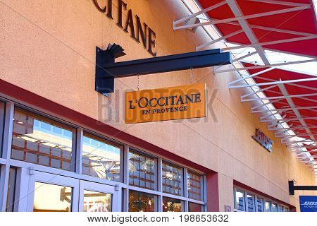 LAS VEGAS, NEVADA - October 11, 2016: L'Occitane Logo On Store Front Sign in the famous Premium outlet North at Las Vegas,NV.