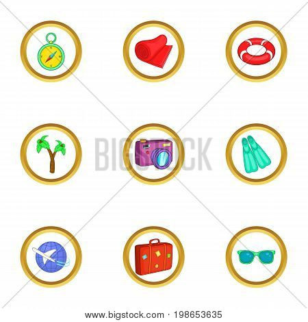 Beach resort icons set. Cartoon set of 9 beach resort vector icons for web isolated on white background