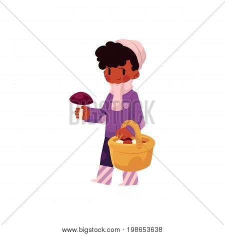 vector girl child wearing coat, rubber boots keeping basket in her hand collecting mushrooms. cartoon isolated illustration on a white background. Autumn activity kids concept