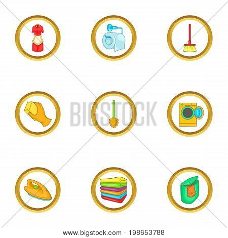 Cleanup icons set. Cartoon set of 9 cleanup vector icons for web isolated on white background