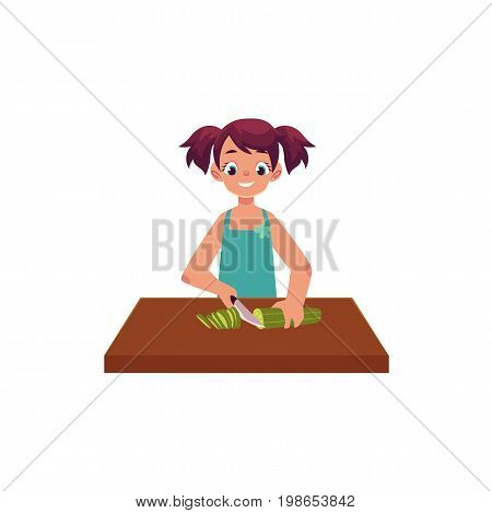 Little girl helping mother with cooking, cutting, slicing cucumber for salad, cartoon vector illustration isolated on white background. Cartoon girl cutting cucumber, helping mother with cooking
