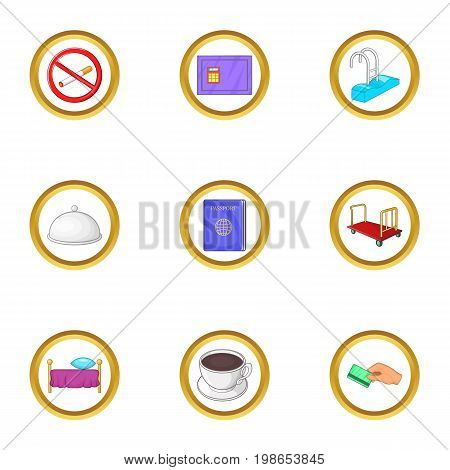 Hotel pack icons set. Cartoon set of 9 hotel pack vector icons for web isolated on white background