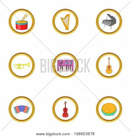 Music equipment icons set. Cartoon set of 9 music equipment vector icons for web isolated on white background