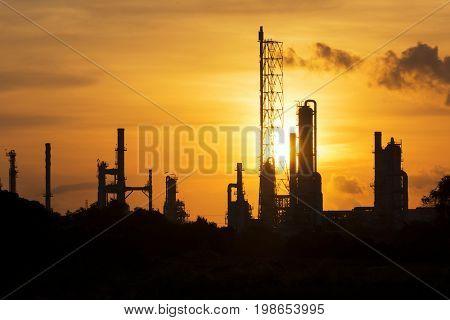 Oil refinery energy iindustrial plantn chemical silhouette