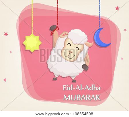 Festival of sacrifice Eid al-Adha. Traditional muslin holiday. Greeting card with funny sheep moon and star. Vector illustration on abstract background.