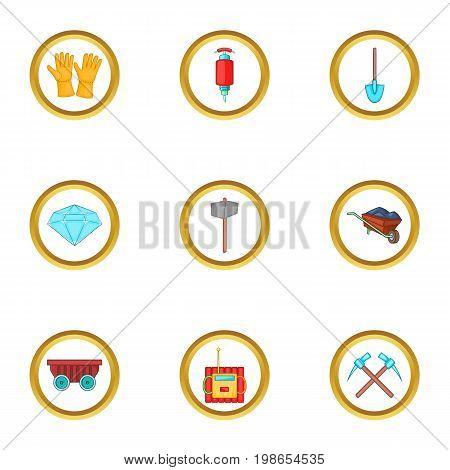 Diamond mining icons set. Cartoon set of 9 diamond mining vector icons for web isolated on white background