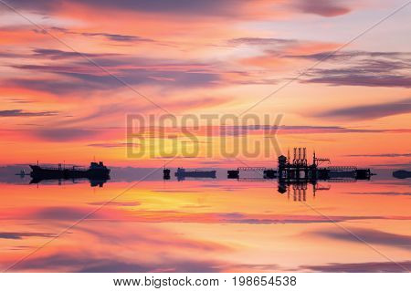 Gas platform or rig platform in sunset or sunrise time