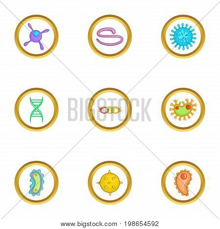 Microbe icons set. Cartoon set of 9 microbe vector icons for web isolated on white background