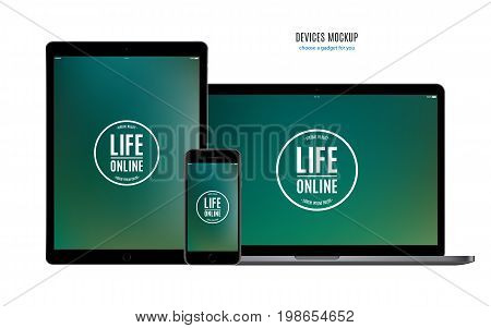 mockup devices: smartphone tablet and laptop with colored screen isolated on white background. stock vector illustration eps10