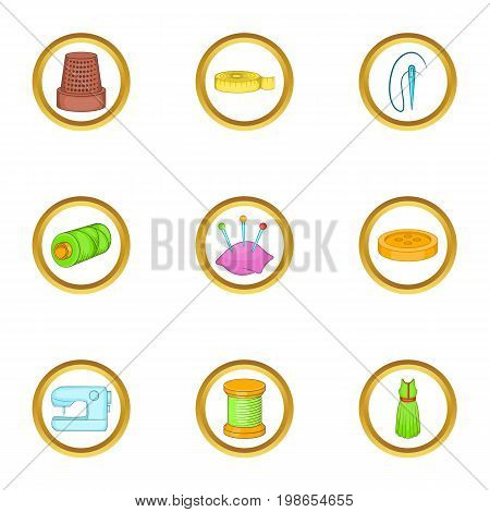 Tailoring icons set. Cartoon set of 9 tailoring vector icons for web isolated on white background