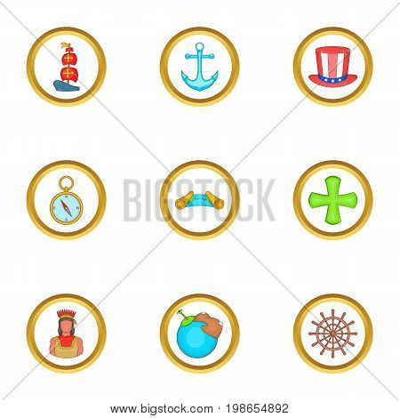 Sailor day icons set. Cartoon set of 9 sailor day vector icons for web isolated on white background