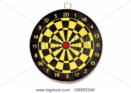 Yellow and black color dartboard with number on white background