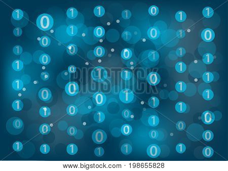 Information technology (IT) generic background with zeros and ones floating around to represent binary messages.