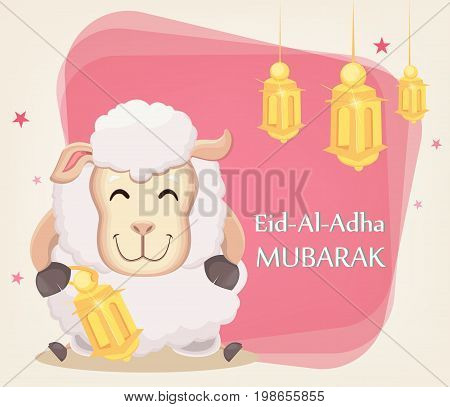 Festival of sacrifice Eid al-Adha. Traditional muslin holiday. Greeting card with funny sheep holding golden lantern. Vector illustration on abstract background.