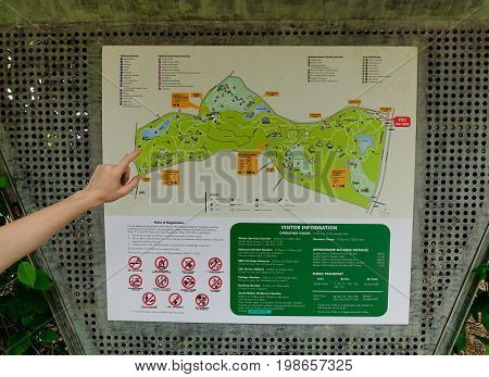 A Hand On Map Of City Park In Singapore