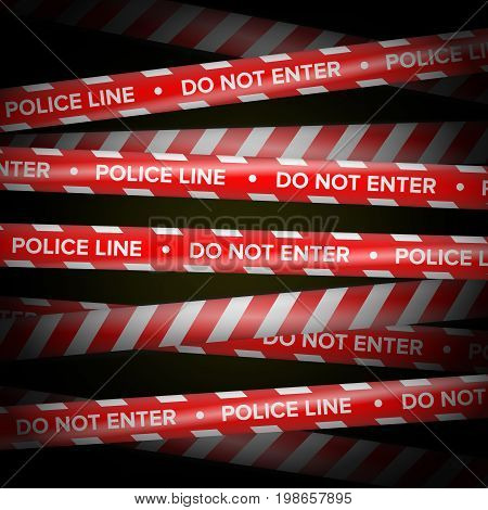 Danger Tape Vector. Red And White Lines. Do Not Cross, Danger, Do Not Enter, Caution. Dark Background