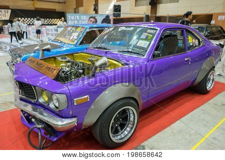 Serdang, Selangor Malaysia - July 29,2017 : Old Mazda Coupe With Fitted With Rotary Engine On Displa
