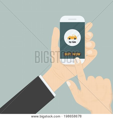 Hand and a car icon on smart phone.Businessman hand and online shopping website on smart phone.Online shopping application on smart phone.Advertising campaign symbol.Online shopping and e-commerce icon concept .Vector illustration