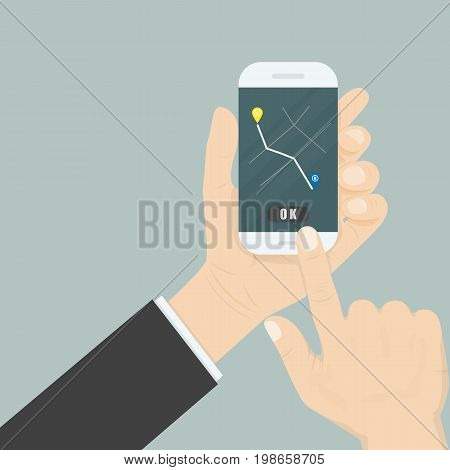 Hand and mobile smart phone with map gps navigation application interface on the screen.Map gps navigation application.Map Location Information Web Layout Concept.Vector illustration