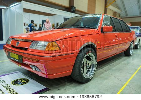 Serdang, Selangor Malaysia - July 29,2017 : Old Proton Iswara Limousine On Display During The Art Of