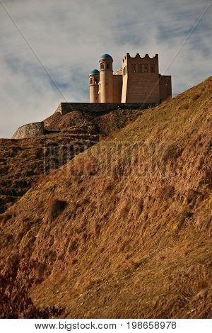 Fortress on the hillside at the district administrative center Balgowan Khatlon region Tajikistan