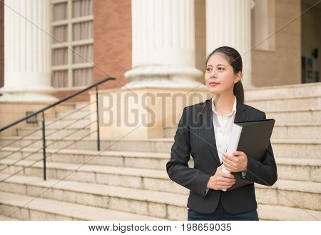 Lawyer Woman Standing In Front Of The Court