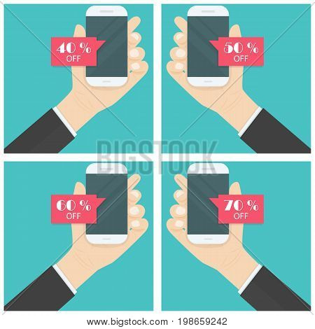 Businessman hand and smart phone icon with special offer sale red tag isolated symbol.Discount offer price label on smart phone.Advertising campaign symbol in retailsale promo marketing40%50%60%70% off discount sticker.Vector illustration