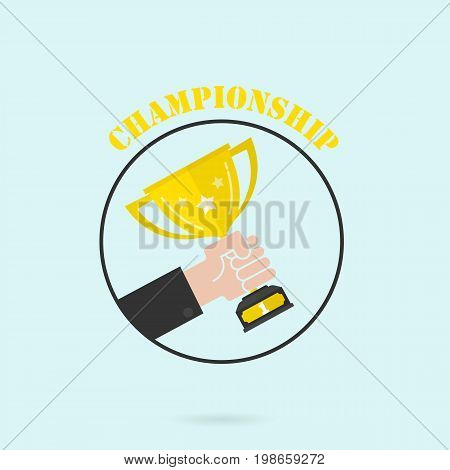 Hand holding winner's trophy award.Man holding up a gold trophy cup is winner in a competition background.Successful business concept.Flat vector Illustration