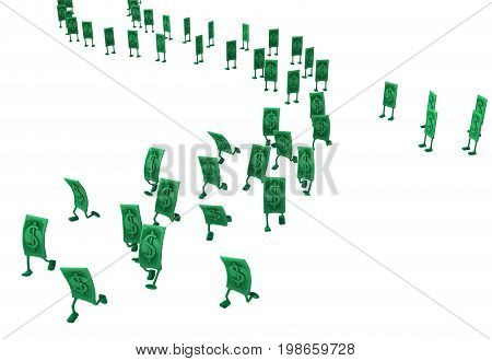 Dollar money symbol cartoon characters running queue 3d illustration horizontal isolated over white