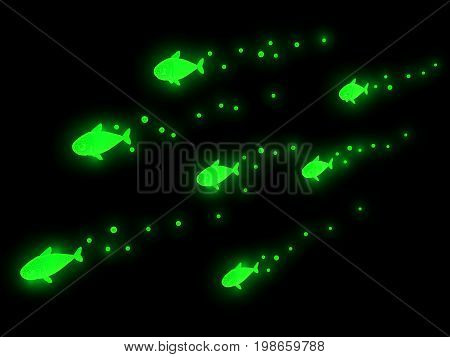 Virtual green glowing fish swimming in darkness 3d illustration horizontal