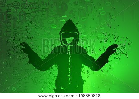 Virtual digits abstract 3d illustration shadow hacker figure horizontal