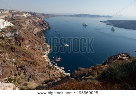 Santorini Island view of the caldera from the city Thira (Fira)