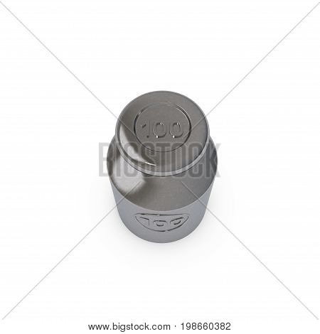 Metalic calibration weight. Isolated on white background. 3D rendering illustration.Top view.