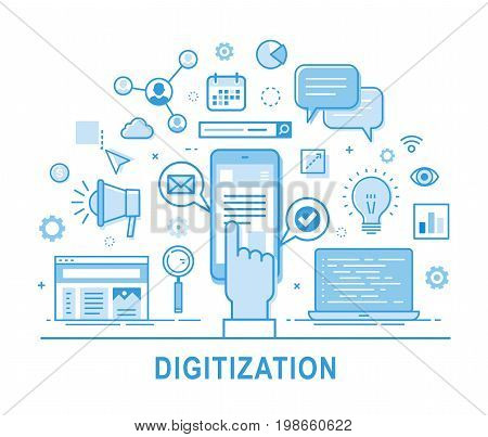 Digitization Digitilization vector concept illustration web internet global globalization social media social network smartphone hand smart phone click icon set thin line line design digital business communication computer digital transformation digitiliz