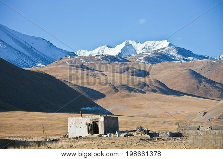 Shepherd's hut on the mountain pastures in the Tien Shan Kyrgyzstan