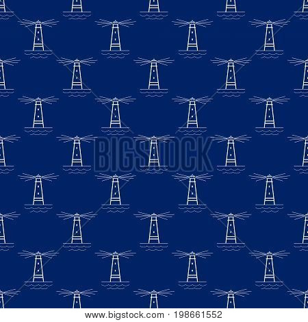 Seamless Travel Pattern with Lighthouse Maritime Tourism Concept Line Style Design Vector Illustration
