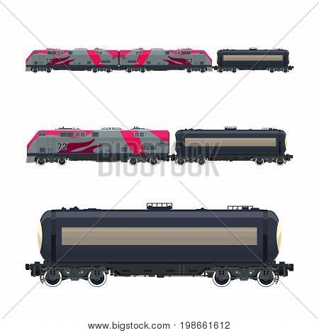 Pink Locomotive with Railway Tank Car Train Railway and Container Transport Tank on Railway Platform for Transportation of Liquid and Loose Freights Vector Illustration
