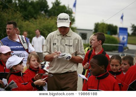 KENT ENGLAND JULY 2 England's David Howell takes time out to do autographs for local children whilst competing at the PGA European Tour European Open at the London Golf Club Ash Kent England