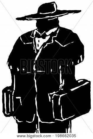 Traveler figure stylized stencil black vector illustration vertical isolated