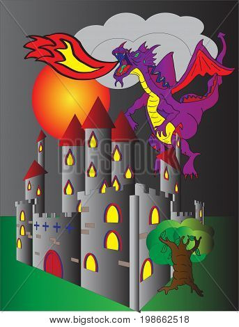 A fire breathing dragon flying over a castle basking  in the light of a red moon.