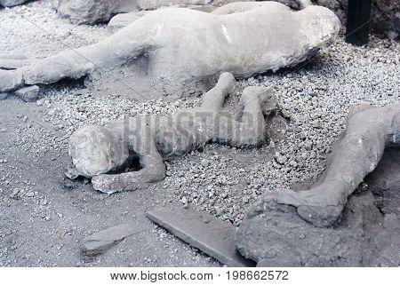 A victim in Pompeii of the Vesuvius eruption of 79 BC