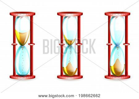 vector illustration of a sand clock measures time