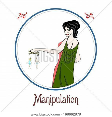 Illustration with a woman on the theme of manipulation.