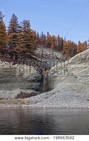 Waterfall on a tributary of the taiga river in Siberia Moiero Evenkia Krasnoyarsk region Russia