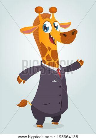 Cartoon brown giraffe dressed up in office suit presenting. Vector art illustration. Fashion animal or business animal. Giraffe mascot businessman