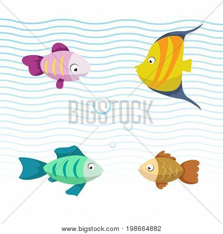 Cute coral reef fishes vector illustration icons set. Collection of funny colorful fish. Vector isolated cartoon marine characters.