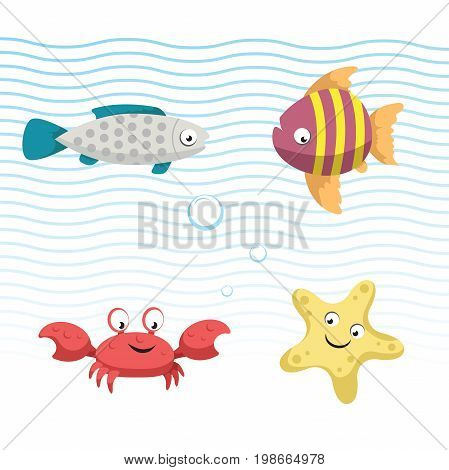 Cute coral reef fishes vector illustration icons set. Collection of funny colorful fish. Vector isolated cartoon gray fish striped fish crab and starfish .