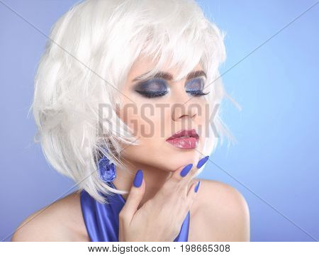 Beauty makeup Portrait Woman. White Hair. Short hairstyle.  Blue manicured nails. Face Close up. Hairstyle. Fringe. Vogue Style. poster