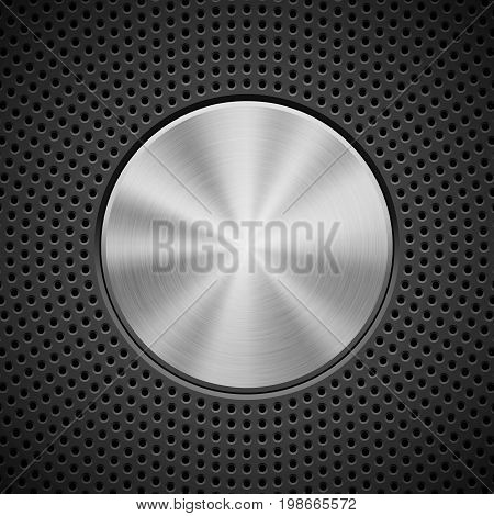 Black technology background with circle perforated pattern, bevels and metal circular polished brushed texture for design concepts, wallpapers, web, presentations, prints. Vector illustration.