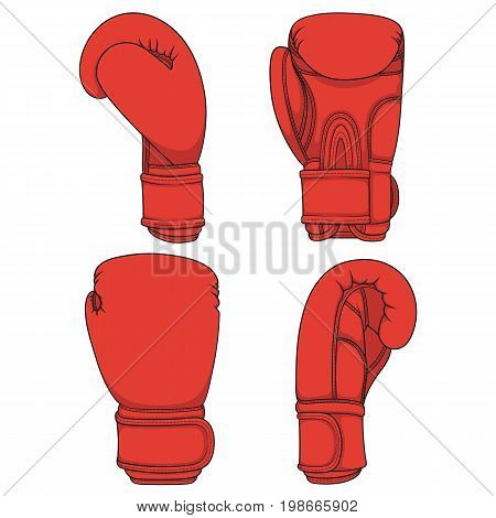 Set of illustrations with red boxing gloves. Isolated colorful vector objects on white.
